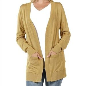 Long Sleeve Open Khaki Cardigan Sweater